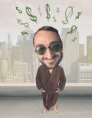 Koca kafa kişi ile fikir dolar işaretleri — Stok fotoğraf