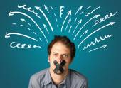 Young man with glued mouth — Stock Photo