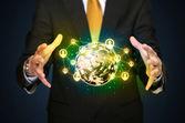 Businessman holding a social media globe — Stockfoto