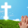 Happy finger smileys with christian religion cross — Stock Photo #58841827