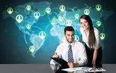 Business couple with social media connection — Φωτογραφία Αρχείου