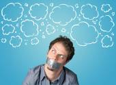 Funny person with taped mouth  — Stockfoto