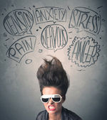 Mad young woman with extreme haisrtyle and speech bubbles — Stockfoto