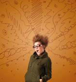 Excited young woman with extreme hairtsyle and hand drawn lines — Stock Photo