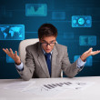 Businessman doing paperwork with digital background — Stock Photo #59335517