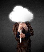 Young woman holding a cloud — Stock Photo