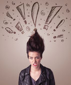 Young woman with hair style and hand drawn exclamation signs — Stock Photo