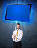 Businessman with shining tablet — Foto de Stock