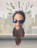 Big head person with idea dollar marks — Stock Photo