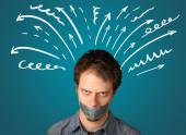 Young man with glued mouth and lines, arrows — Stock Photo