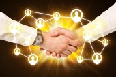 Social netwok connection handshake — Stock Photo