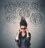 Mad young woman with extreme haisrtyle and speech bubbles — Stock Photo