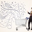 Businessman with shopping cart — Stock Photo #60577253