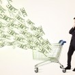 Businessman with shopping cart with dollar bills — Stock Photo #60577267