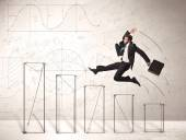 Fast business man jumping up on hand drawn charts — Stock Photo