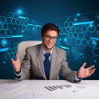 Businessman doing paperwork with futuristic backgroung — Stock Photo #61604449