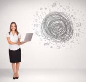 Young business woman with media doodle scribble  — Stock Photo