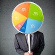 Businessman holding a pie chart — Stock Photo #62129093