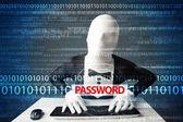 Hacker in morph 3d mask stealing password  — Stock Photo