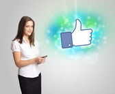Young girl with like social media illustration — Stock Photo