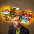 Man with colorful glowing photo memories concept — Stock Photo #62750677
