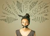 Young woman with glued mouth and curly lines — Stock Photo