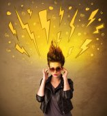 Young woman with hair style and hand drawn lightnings — Stock Photo