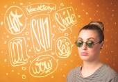 Cool teenager with summer sun glasses and vacation typography — Stock Photo
