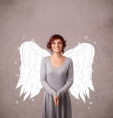 Jolie fille avec des ailes d'ange illustré — Photo