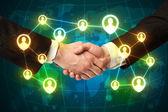 Handshake, social netwok concept — Photo