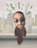 Big head person with idea dollar marks — Foto Stock