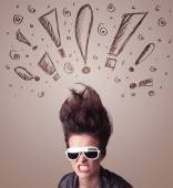 Young woman with hair style and hand drawn exclamation signs — Stock fotografie