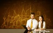 Business couple with buildings and numbers — Stockfoto