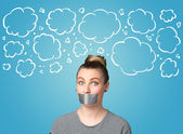 Funny person with taped mouth  — Stock Photo