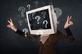 Casual woman with a pc monitor head question marks comming out — 图库照片