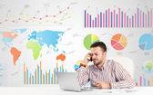 Biznesmen z kolorowych wykresów — Zdjęcie stockowe