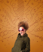 Excited young woman with extreme hairtsyle and hand drawn lines — Foto de Stock