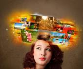 Girl with colorful glowing photo memories concept — Stock Photo