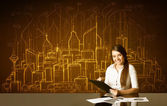 Businesswoman with buildings and numbers — Stock Photo