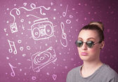 Happy funny woman with shades and hand drawn media icons — Stock Photo