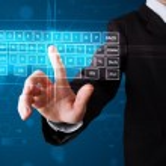 Businessman pressing virtual type of keyboard — Stock Photo #67680733