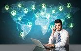 Zakenman met sociale media verbinding — Stockfoto