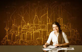 Businesswoman with buildings and numbers — Stok fotoğraf
