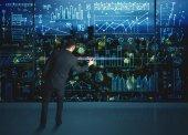 Dibujo hombre de negocios con el fondo de las estadísticas — Foto de Stock