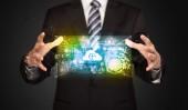 Businessman holding data cloud — Foto Stock