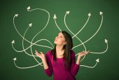Beautiful girl thinking a solution — Stock Photo