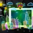 Young person showing tablet with hand drawn cityscape — Stock Photo #70235403