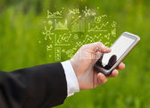 Smartphone with business scheme — Stock Photo