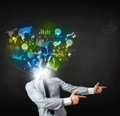 Business man in suit with graph and charts exploding from his bo — Stockfoto