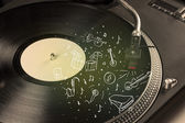 Plattenspieler-spielt klassischen Musik mit Instrumenten Symbol gezeichnet — Stockfoto